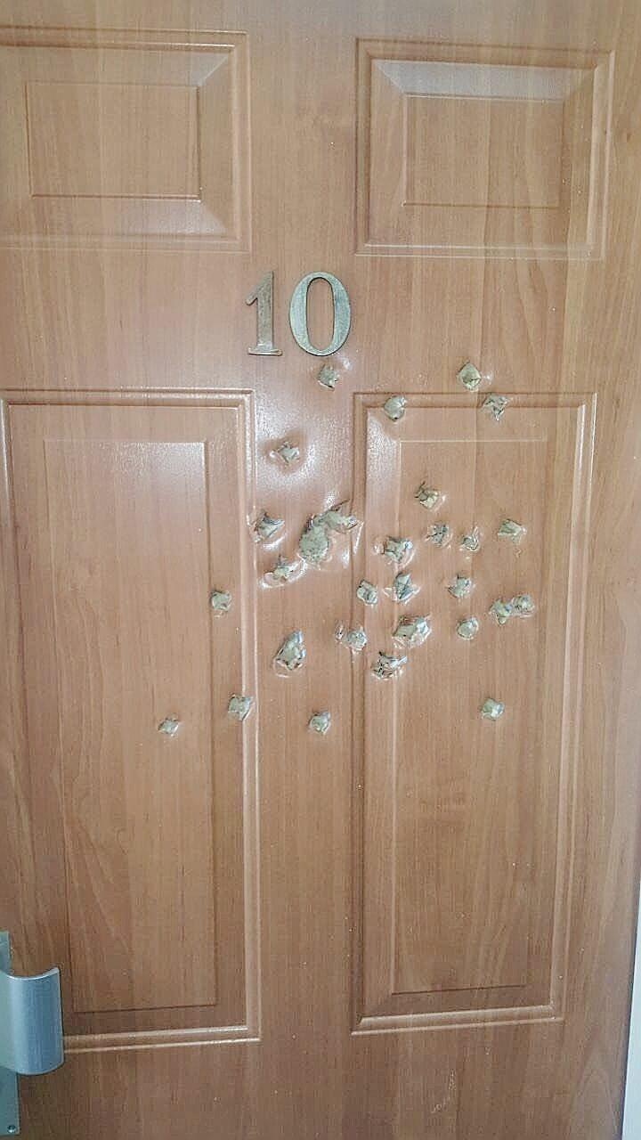 הדלת הסדוקה במרפאת הנוטרים צילום דוברות המשטרה