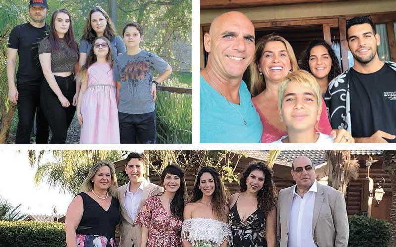משפחות. מימין עם כיוון השעון:משפחת טל,משפחת בסין, משפחת טייר. צילום מיכאל בסין