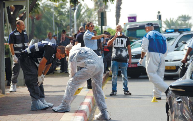 זירת הפיגוע ברחוב ירושלים ברעננה אוקטובר 2015