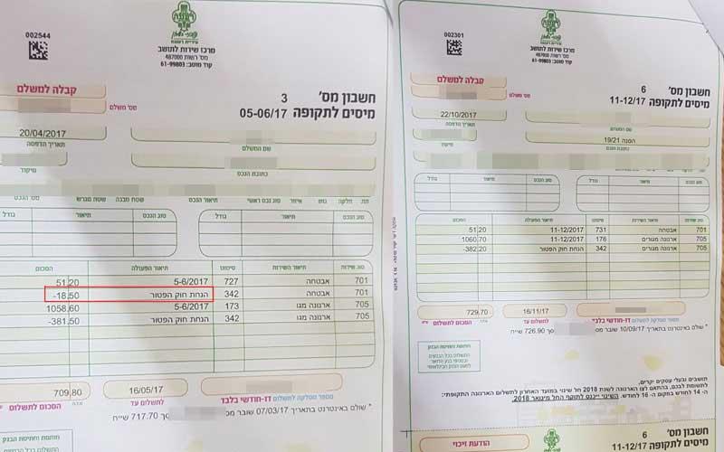 חשבון ארנונה של נכה משרד הביטחון