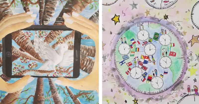 קולאז' ציוריהן של רוני והדס קורפל, זוכות התחרות קרדיט: דוברות העירייה