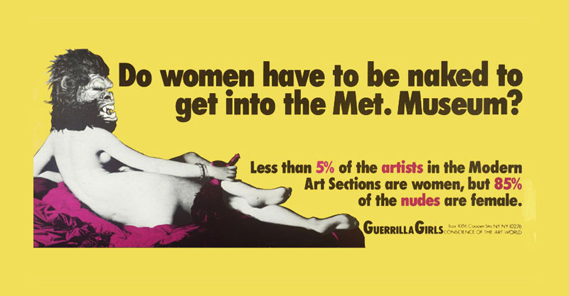 כרזה של הגרליה גירל'ז על ייצוג נשי במוזיאונים