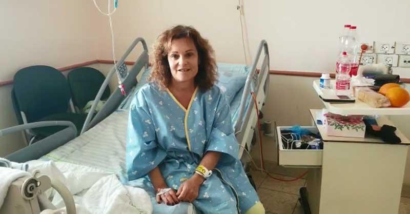 """סוזן וולף בבית החולים בילינסון. צילום: דוברות ביה""""ח בילינסון"""