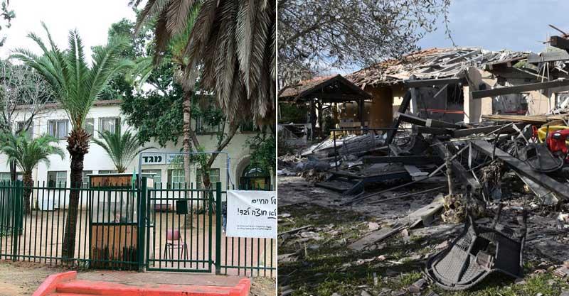 הבית שנפגע מהרקטה, בית ספר מגד. צילום משטרת ישראל, עזרא לוי