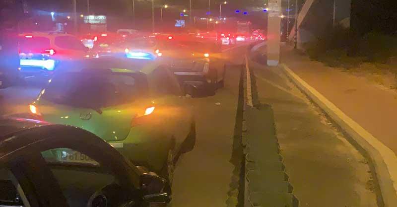 פקק ענק בכביש 2 בעקבות המחאה. קרדיט: תום סימונוב