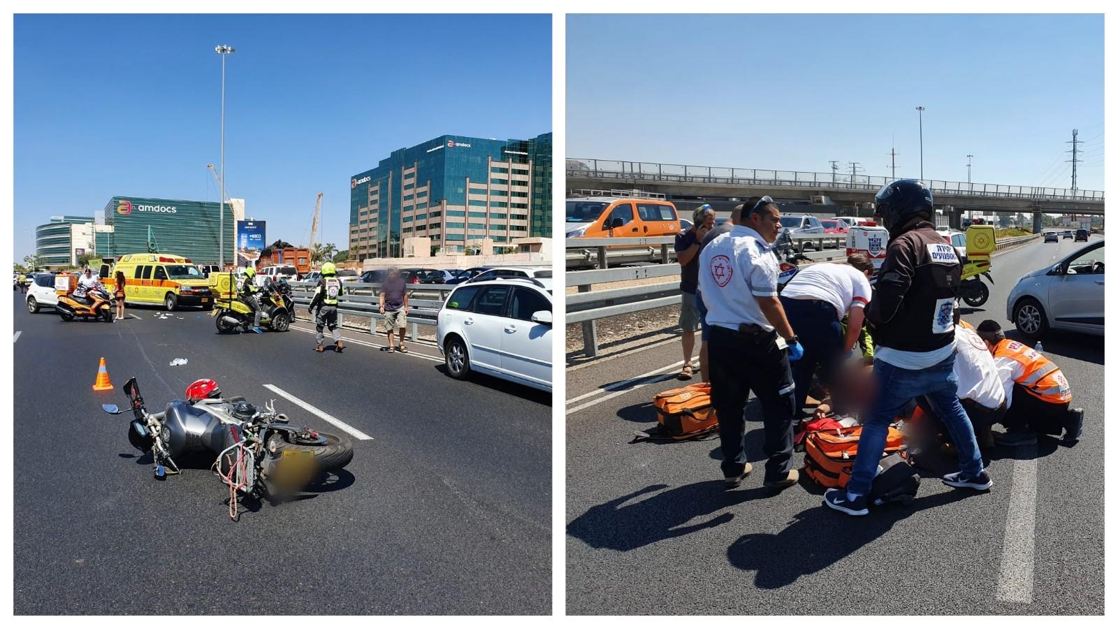 תאונת אופנוע בכביש 4. צילום: דוברות איחוד והצלה