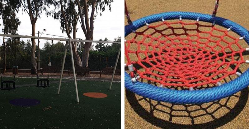 הנדנדה לילדים עם צרכים מיוחדים שנגנבה מגן פארק רסקו, המתקן בגן פארק רסקו לאחר גניבת הנדנדה. צילומים ליאור כהן