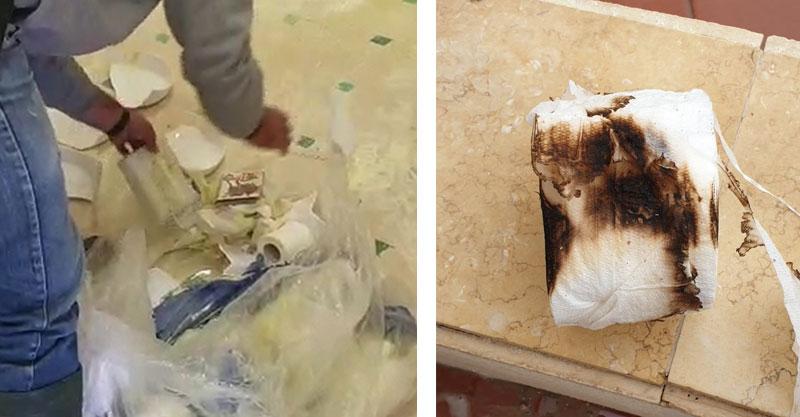 נייר טואלט שנשרף בשירותי פארק רעננה, ונדליזם בפארק רעננה. צילומים דוברות עיריית רעננה