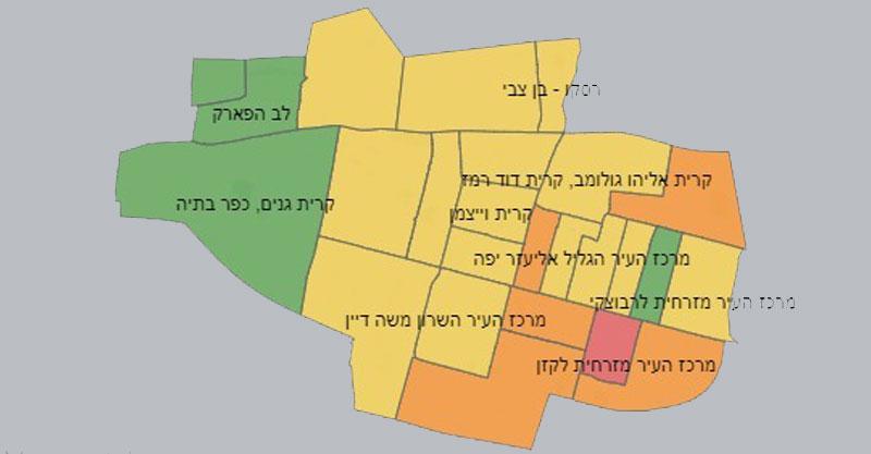 מפת נתוני הקורונה רעננה- מדף הפייסבוק העירוני