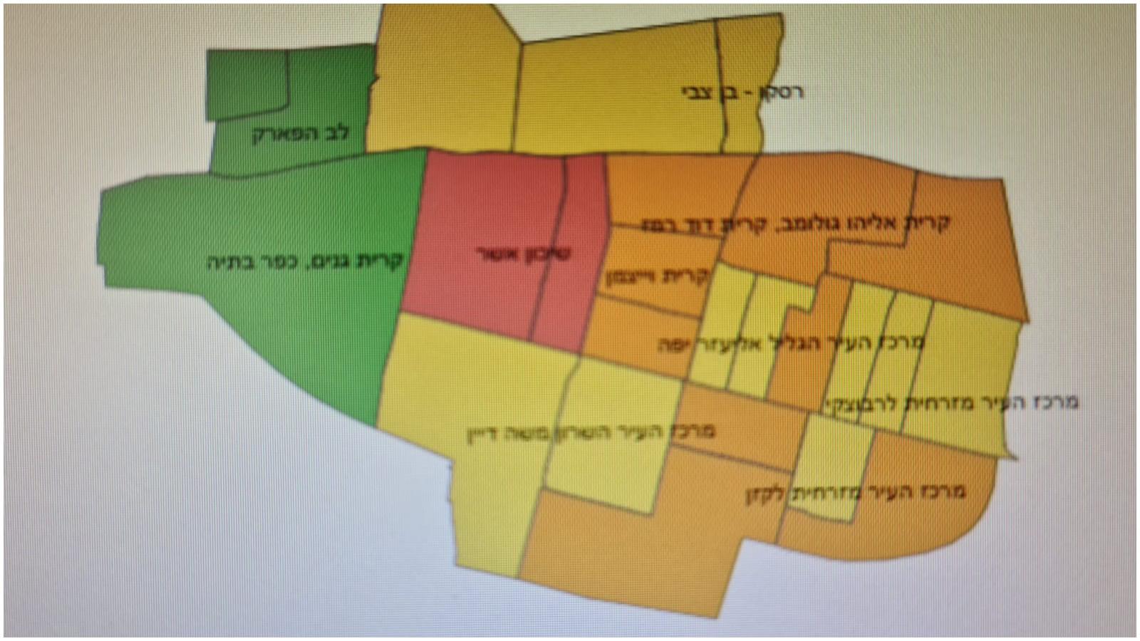 מפת תחלואה ברעננה. צילום משרד הבריאות.